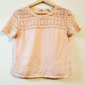 J Cre Pink Knit Lace Top